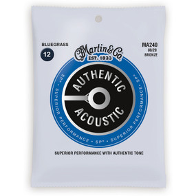 Martin MA240 Authentic Acoustic SP 80/20 Bronze Bluegrass Guitar Strings, 12-56