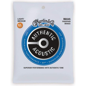 Martin MA545 Authentic Acoustic SP Phosphor Bronze Guitar Strings, Light/Medium Gauge