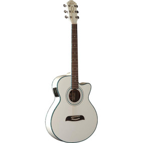 Oscar Schmidt OG10CEWH Concert Size Cutaway Acoustic Electric Guitar, White