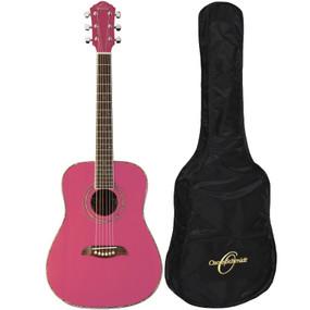 Oscar Schmidt OGHSP 1/2 Size Acoustic Guitar w/ Gig Bag, Pink