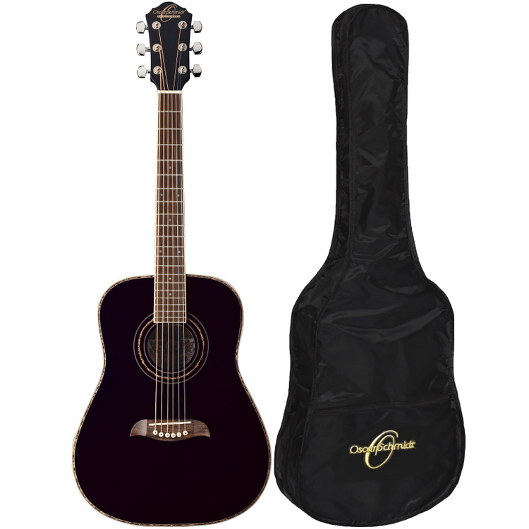 Oscar Schmidt OGHSB 1/2 Size Acoustic Guitar with Gig Bag, Black