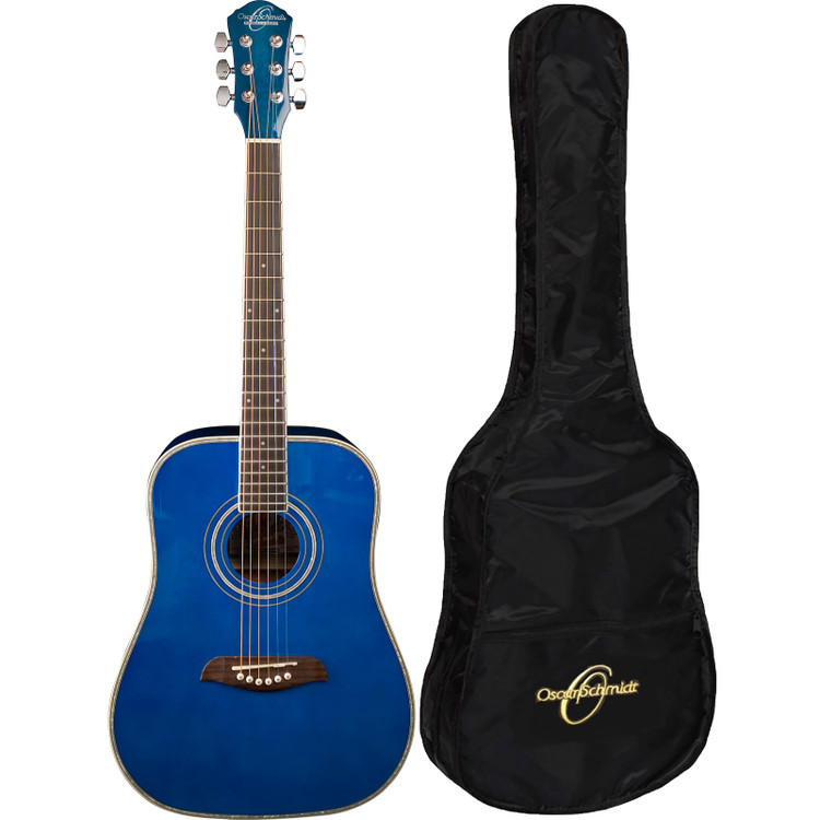 Oscar Schmidt OGHSTBL 1/2 Size Acoustic Guitar with Gig Bag, Trans Blue