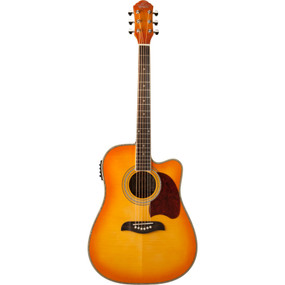 Oscar Schmidt OG2CEFYS Dreadnought Cutaway Acoustic Electric Guitar, Flame Yellow Sunburst