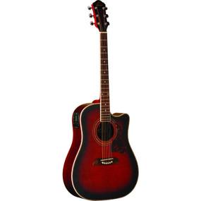 Oscar Schmidt OG2CEFBC Dreadnought Cutaway Acoustic Electric Guitar, Flame Black Cherry
