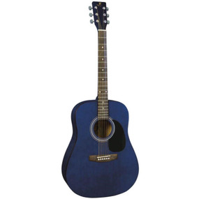 J. Reynolds JR65TBL 6-String Dreadnought Acoustic Guitar, Transparent Blue