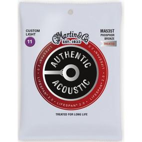 Martin MA535T Acoustic Lifespan 2.0 Acoustic Guitar Strings, Custom Light .011-.052