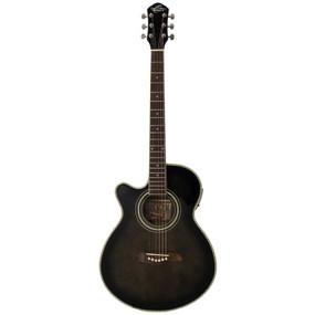 Oscar Schmidt OG10CEFTB Left-Handed Concert Acoustic Electric Guitar, Flame Trans Black
