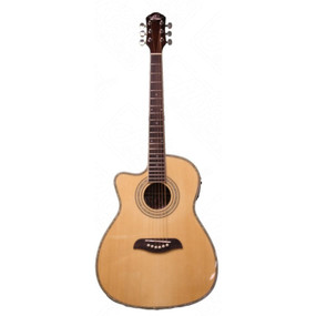 Oscar Schmidt OG1CE Left-Handed 3/4 Size Acoustic Electric Guitar, Natural