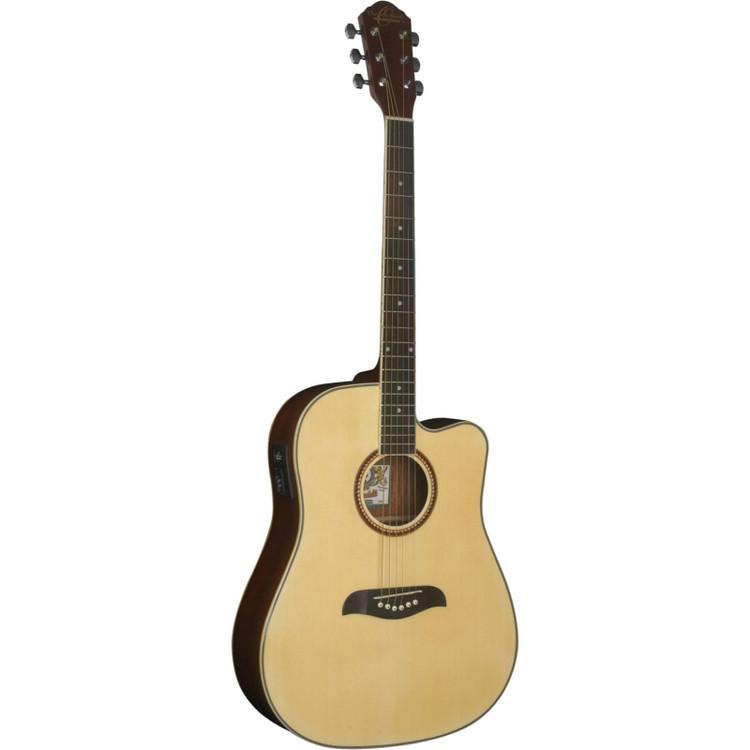 Oscar Schmidt OG2CE Dreadnought Cutaway Acoustic Electric Guitar, Natural