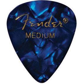 Fender 351 Shape Premium Celluloid Guitar Picks, Medium, Blue Moto, 12-Pack