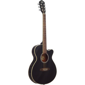 Oscar Schmidt OG8CEB Folk Size Acoustic Electric Guitar, Black
