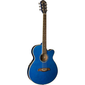 Oscar Schmidt OG8CETBL Folk Size Acoustic Electric Guitar, Trans Blue