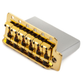 "Fender Vintage Style Strat Bridge Assembly, 2-3/16"" Spacing, Gold"