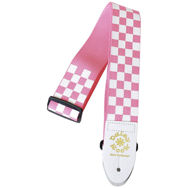 Daisy Rock DRS05 Pink Checker Guitar Strap, Pink and White