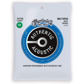 Martin MA170PK3 Acoustic SP 80/20 Bronze Guitar Strings, Extra Light, 3-Pack