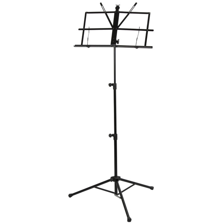 Strukture SMS1X Deluxe 3-Part Folding Music Stand with Bag, Black
