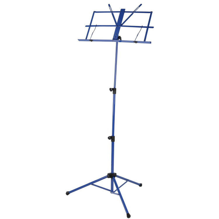Strukture SMS1X-BL Deluxe 3-Part Folding Music Stand with Bag, Blue