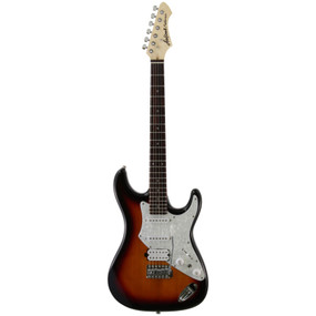Aria Pro II 714-STD Solid Body Double Cutaway Electric Guitar, 3 Tone Sunburst
