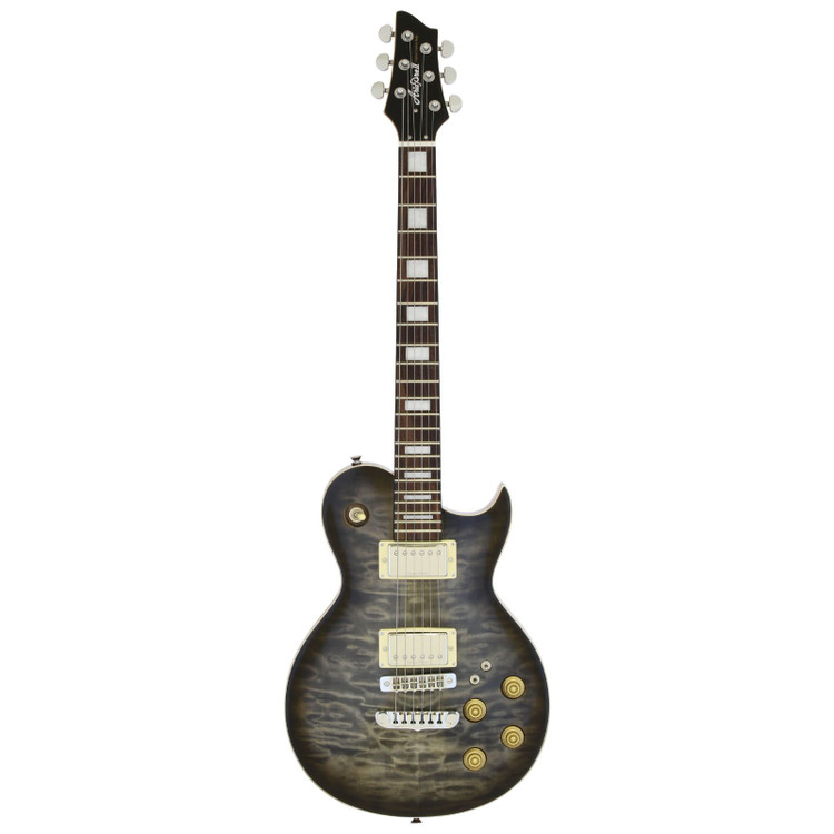 Aria Pro II PE-480 Quilted Maple Top Electric Guitar, See Thru Black Burst