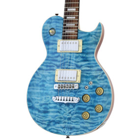 Aria Pro II PE-480 Quilted Maple Top Electric Guitar, See Thru Emerald Blue