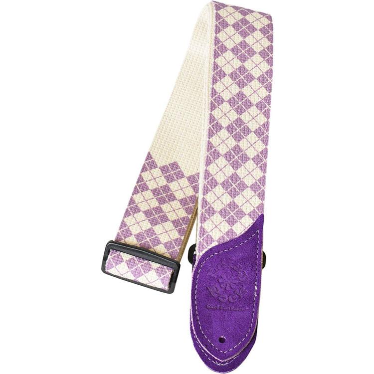 Daisy Rock DRS10 Purple Argyle Cotton Guitar Strap