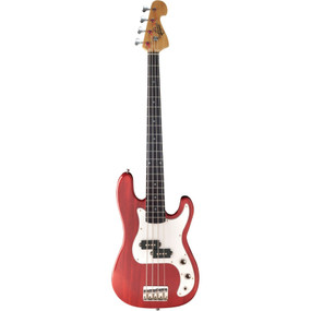 Oscar Schmidt OSB-400C 4-String Electric Bass Guitar, Trans Red (OSB-400C-TR)