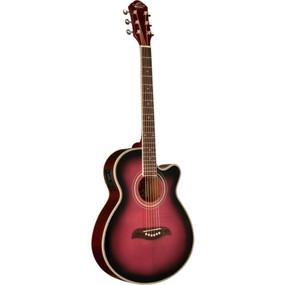 Oscar Schmidt OG10CEFTPB Concert Cutaway Acoustic Electric Guitar, Flame Trans Purple (OG10CEFTPB)
