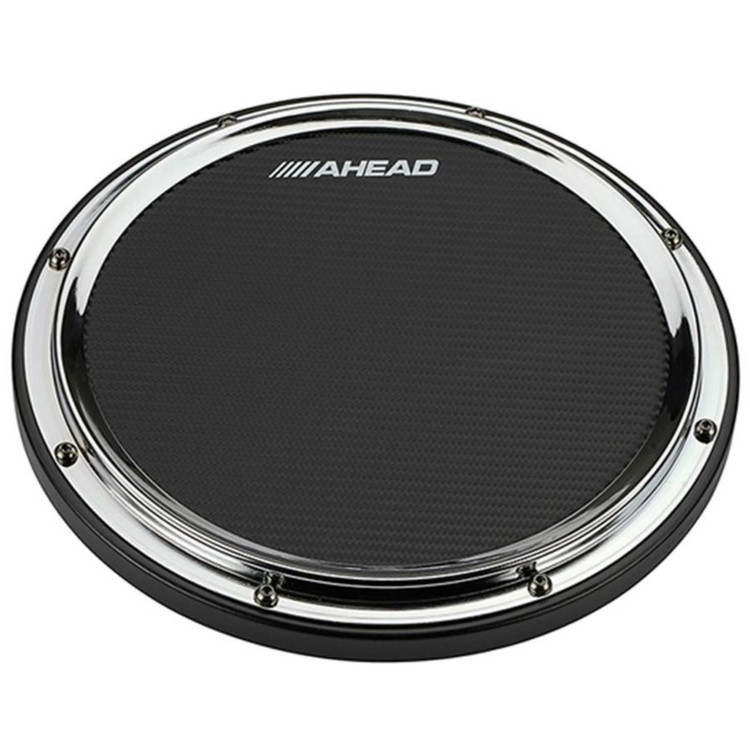 """Ahead AHSHPCH 14"""" S-Hoop Marching Snare Drum Practice Pad with Snare Sound, Chrome (AHSHPCH)"""