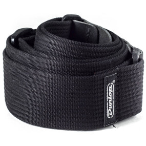 Dunlop D27-01BK Ribbed Cotton Guitar Strap, Black (D27-01BK)
