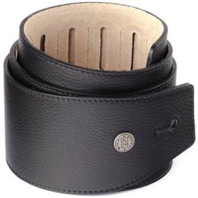 "Dunlop BMF02BK 3"" Wide Boy Premium Leather Guitar Strap, Black (BMF02BK)"