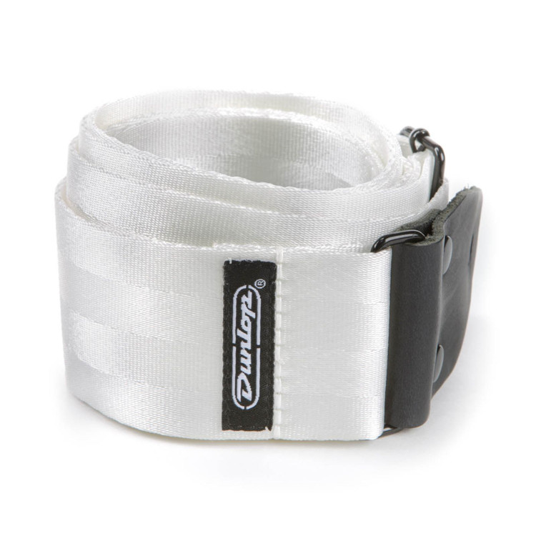 "Dunlop 2"" Deluxe Seatbelt Guitar Strap, White (DST70-01WH)"