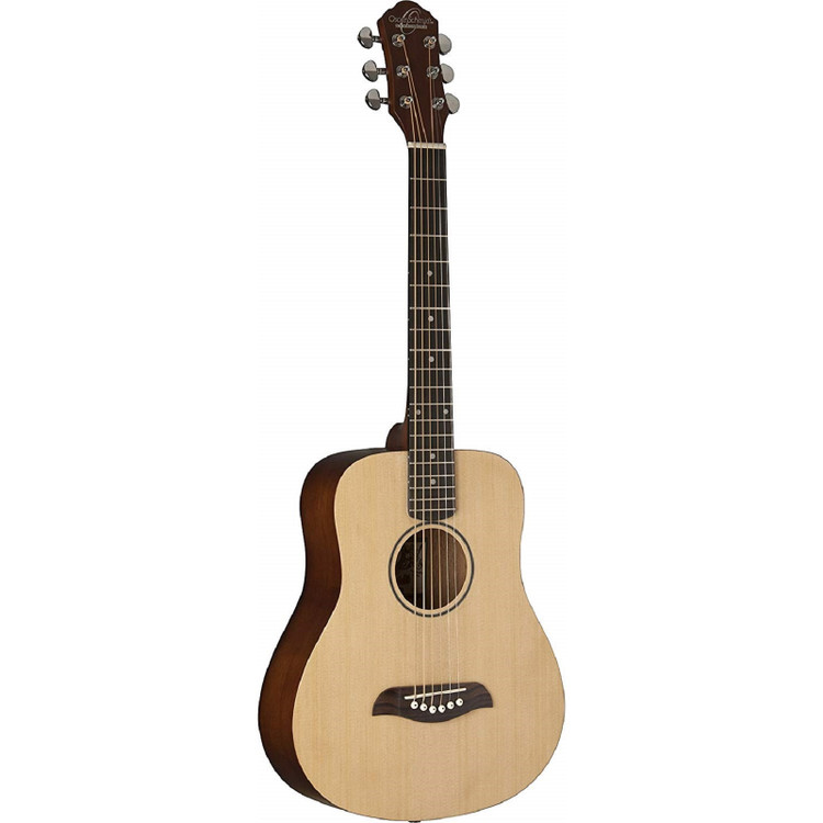 Oscar Schmidt OGM8 Mini Dreadnought 1/2 Size Acoustic Travel Guitar, Natural