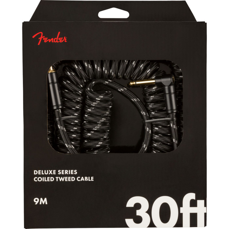 Fender Deluxe Series 30 ft. Straight-Angle Coiled Guitar Cable, Black Tweed (099-0823-060)