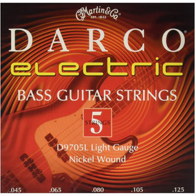 Martin D9705L Darco Long Scale Nickel Wound 5-String Electric Bass Guitar Strings, Light 45-12.5 (D9705L)