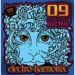 Electro-Harmonix NIC9 Nickel Wound Electric Guitar Strings, Super Light 9-42 (NIC9)