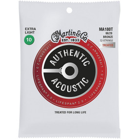 Martin MA180T Acoustic Lifespan 2.0 Bronze 12-String Acoustic Guitar Strings, Extra Light (MA180T)