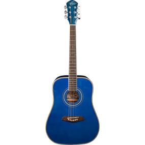 Oscar Schmidt OG1TBL Student 3/4 Size Dreadnought Acoustic Guitar, Trans Blue (OG1TBL)