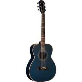 Oscar Schmidt OF2TBL Folk Acoustic Guitar, Trans Blue (OF2TBL)