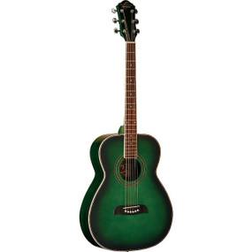 Oscar Schmidt OF2TGR Folk Size Acoustic Guitar, Trans Green