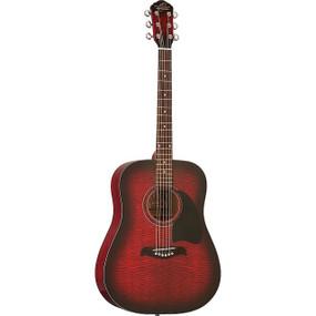 Oscar Schmidt OG2FBC Dreadnought Acoustic Guitar, Flame Black Cherry (OG2FBC)