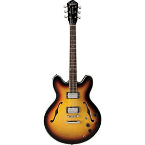 Oscar Schmidt OE30 Semi-Hollow Body 335-Style Electric Guitar, Flame Tobacco Sunburst (OE30TS)