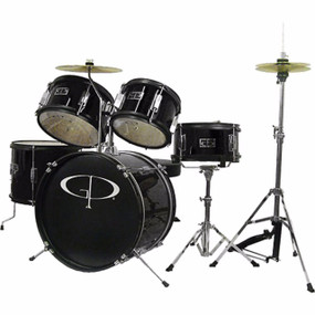 GP Percussion GP55 Complete 5-Piece Junior Child Size Drum Set, Black (GP55BK)