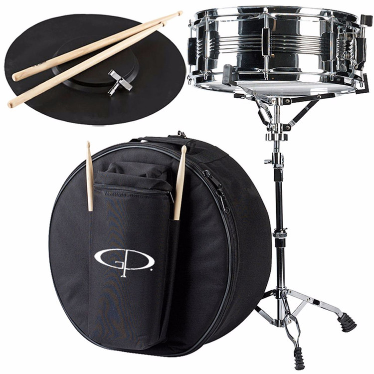 "GP Percussion SK22 Student 5.5""x14"" Snare Drum Kit w/Case, Stand, Sticks and Practice Pad"