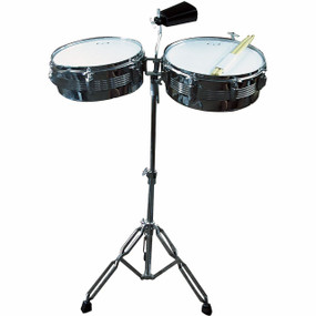 "GP Percussion LT156 Complete 13"" & 14"" Timbales Drum Set with Stand and Cowbell"