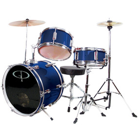 GP Percussion GP50 Complete 3-Piece Junior Child Size Drum Set, Metallic Blue