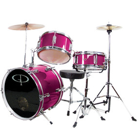 GP Percussion GP50 Complete 3-Piece Junior Child Size Drum Set, Pink