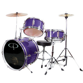 GP Percussion GP50 Complete 3-Piece Junior Child Size Drum Set, Metallic Purple