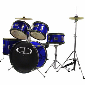 GP Percussion GP55 Complete 5-Piece Junior Child Size Drum Set, Blue (GP55BL)