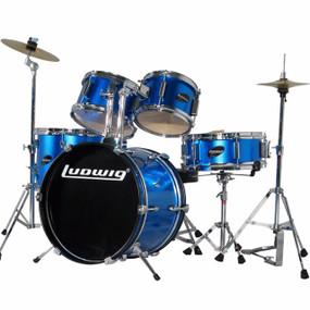 Ludwig LJR106 5-Piece Junior Child Size Beginner Drum Set, Blue (LJR1062)