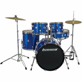 Ludwig LC175 Accent Drive 5-Piece Complete Drum Set, Blue (LC1759)